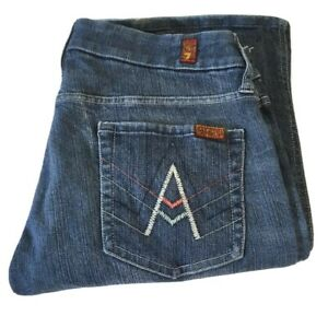 Womens-7-Seven-For-All-Mankind-A-Pocket-Flare-Boot-Denim-Blue-Jeans-Size-29-SFAM