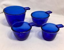 Measuring Cups 4 peice set Cobalt Blue Reproduction Depression Glass Style #527C