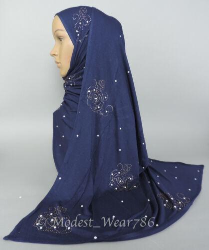 Premium Cotton Jersey Hijab Scarf Muslim Headcover Gold Rhinestones  170X70  cm