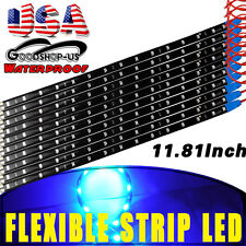 10x Blue 15-LED 30CM Waterproof Car Motor Flexible Decorate Light Strip Bar 12V