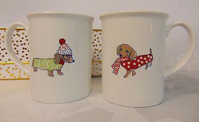 NEW Set (2) DACHSHUND Dog Coffee MUGS Tea Cocoa CUPS Wiener Christmas Sweaters!