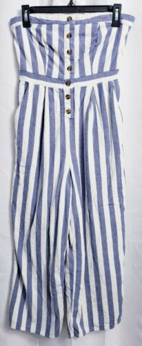 American Eagle Striped Button Front Strapless Tube