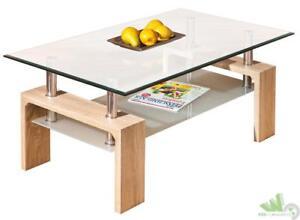 Kit tavolino da salotto basso doppio vetro colore rovere 100x60x45h