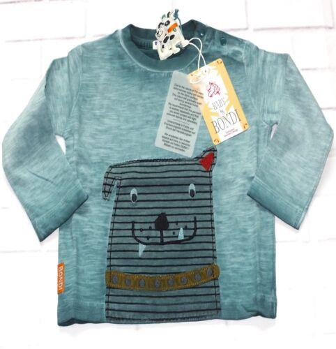 Bondi Shirt Jungen Flamee Langarmshirt DOGGY Hund Grün Gr 74 92 NeU