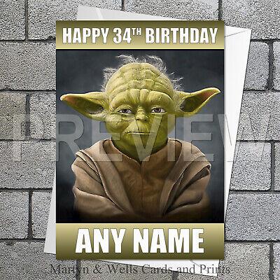 STAR WARS YODA PERSONALISED FUN BIRTHDAY BADGE - ANY NAME AND AGE BRAND NEW