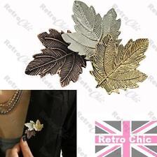 RETRO VINTAGE style LEAF BROOCH antique GOLD/BRONZE/SILVER fashion LAPEL PIN