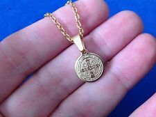 St BENEDICT NECKLACE Pendant Protection Saint Medal Gold Plated Stainless Steel