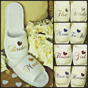 bbe7cd1d58be Image is loading WHITE-WEDDING-SLIPPERS-PERSONALISED-GLITTER-PRINT-NOVELTY- BRIDAL-