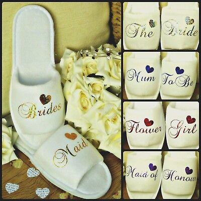 Zapatillas de boda blanco De Spa Personalizado Brillo Impresión NOVEDAD Puntera Abierta
