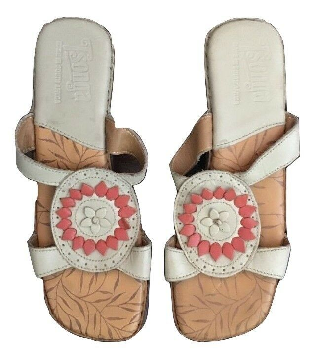 Women's Tsonga Brown Leather  6 Floral Sandals Sz 36, 6  8eed0d