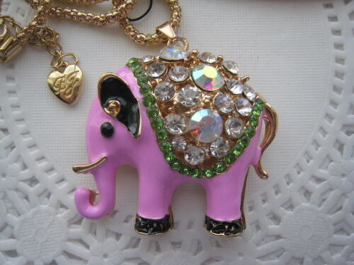 "BETSEY JOHNSON COPY PINK CRYSTAL ELEPHANT PENDANT NECKLACE  24/""   # 118"