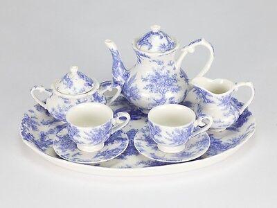 Vintage Style Blue White Mini Miniature Tea set French European porcelain 10 pc