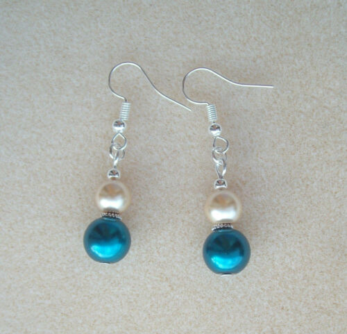 Pretty Teal and Cream Glass Pearl Dangly Drop Earrings