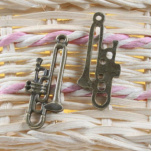 8pcs antiqued bronze music instrument pendant G739