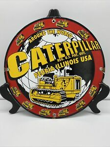 VINTAGE ''CATERPILLAR'' GAS & OIL PUMP PLATE , PORCELAIN 12 INCH. ILLINOIS USA