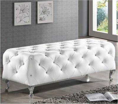 Ottoman Modern Tufted Bench Crystal White Bed Bedroom Leather Upholstered Seat