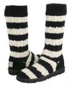 ea3c4ac4ab3 Details about UGG Knit Cardy Sweater UGGS , Great Condition ! Black/Off  White Striped ! CUTE !