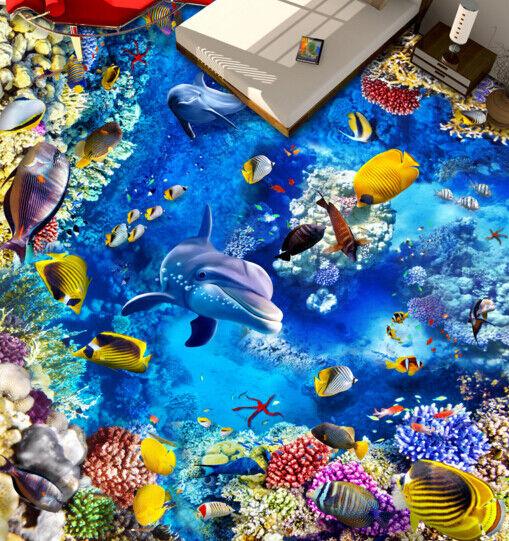3D  colorful Sea 642 Floor WallPaper Murals Wall Print 5D AJ WALLPAPER UK Lemon