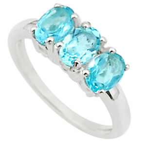 2.96cts 3 Stone Natural Blue Topaz 925 Sterling Silver Ring Size 7 T40906