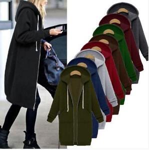 8e9a733fe28 Winter Women Plus Size Long Sleeve Hooded Ladies Cardigan Zip Up ...
