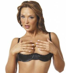 e38a1a4e6dc Black Leather Shelf Bra Open Cup Show Nipples Breast Plus Size S-3X ...