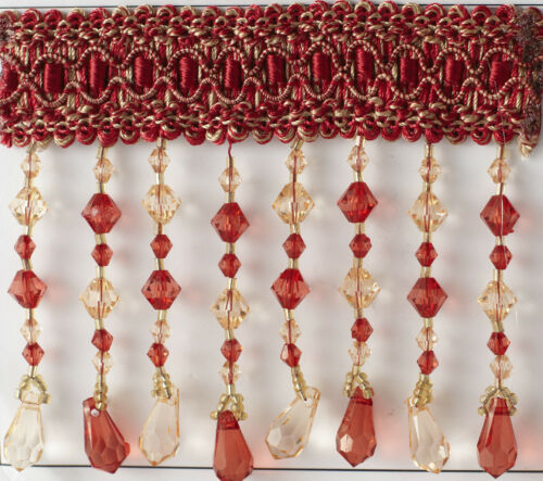 pillows and more Red Beaded fringe BY THE YARD  For draperies