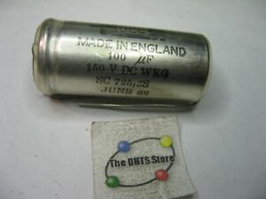 UCC England 100uF 150VDC Electrolytic Capacitor - NOS Qty 1