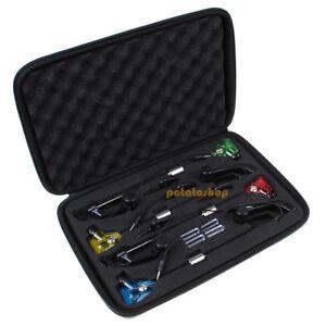 4-Swingers-Indicators-LED-Bite-Alarms-Illuminated-Carp-Fishing-Set-W-Carry-Case