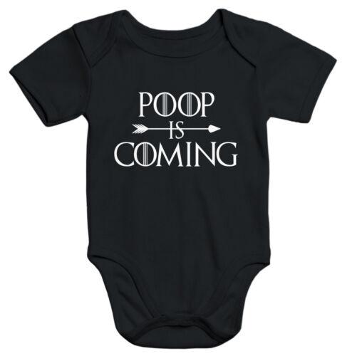 Kurzarm Baby Body Poop Is Coming lustig Spruch Baby Onesie Bio-Baumwolle