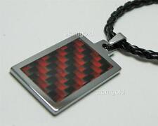 "Men Tungsten Carbon Fiber inlay Pendant & 3mm Black Leather cord Necklace 20"""