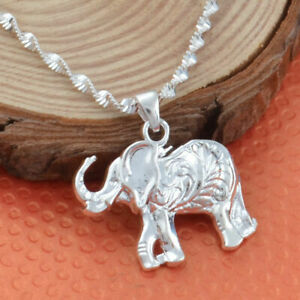 Women-925-Silver-Wedding-Party-Elephant-Necklace-Pendant-with-Chain-Jewelry
