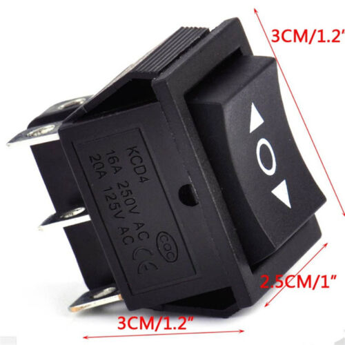 On-Off-On Latched Rectangle Rocker Switch DPDT Crane Toy Winch Black #HD3
