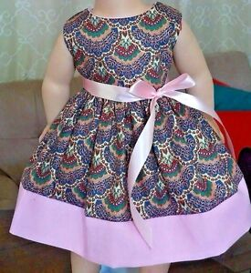 Doll Clothes/Handmade/18 Inches/American Girl Dolls//Paisley & Pink Dress.