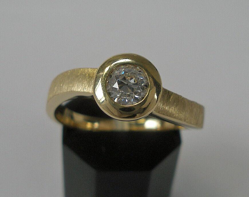 Brillantring Solitär Diamant Diamond Brillant 0,40 ct. 14 Kt 585 yellowgold Gr. 57