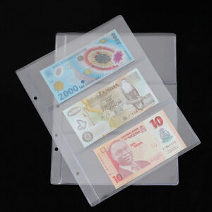 New-Album-Page-3-Pockets-Money-Bill-Note-Currency-Holder-PVC-Collection-1-Sheet