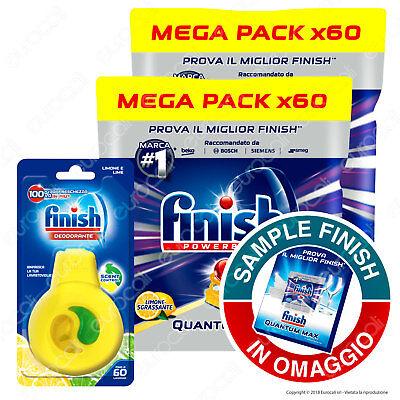 Finish 2x60 Pastiglie Quantum Max Limone Sgrassante Tabs Mega Pack + Deo Lemon