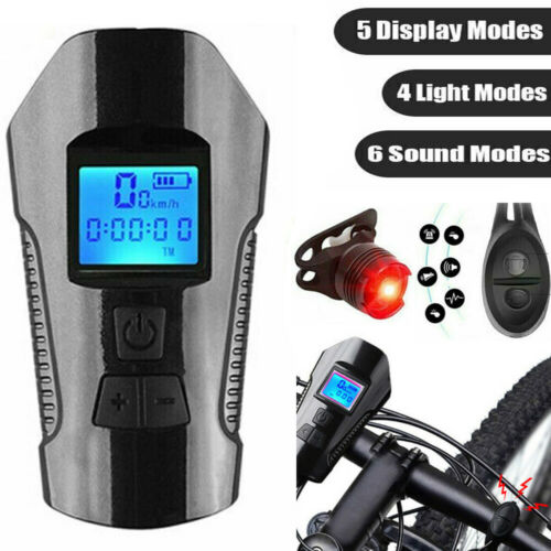 Bicycle Bike Head Front Rear Lights Lamp Horn Speedometer Set USB Rechargeable