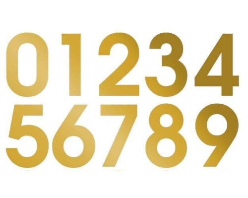 1 X Set d/'or Numéros 0-9 Auto Adhésif Vinyle Stickers Taille 20 mm