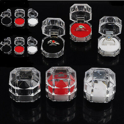 10Pcs HOT Jewelry Transparent Organizer Rings Earring Gift Acrylic Box Storage