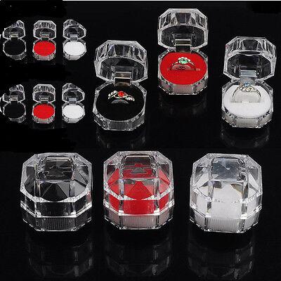 10pcs Portable Acrylic Home Jewelry Organizer Rings Earring Gift Storage Box