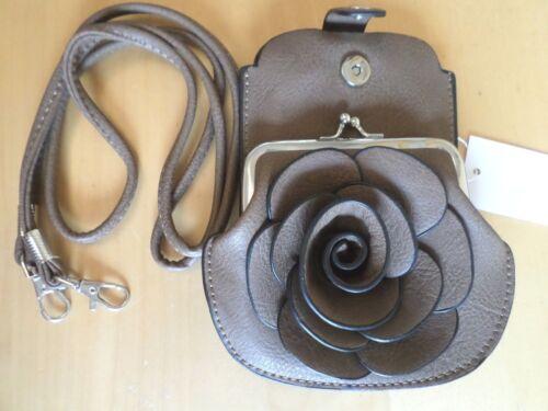 Mobile Phone Messenger Bag Coin Purse Flower Rose Shoulder Clutch Cross Body 3D
