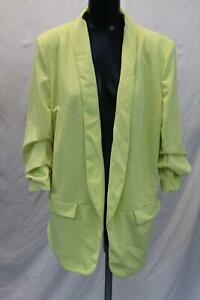 Boohoo-Plus-Women-039-s-Ruched-Sleek-Blazer-TM8-Yellow-Size-US-16-UK-20-NWT