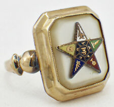 Vintage 1940's 10K Yellow Gold Enamel Eastern Star Ring Mother-of-Pearl Setting