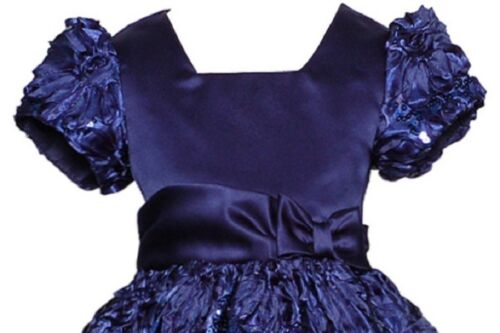 Rare Editions Holiday Formal Blue Soutache Sequin Dress with Matching Bloomers