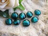 8 Glasperlen in petrol - Silberfolieneinzug, 1,3 cm, Linsen, Perlen basteln