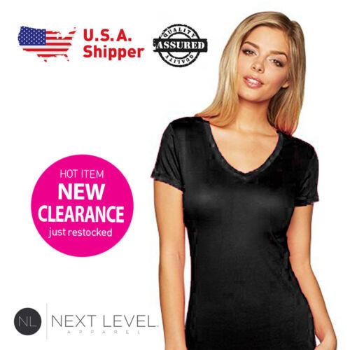 S-L 3 Pack Next Level Ladies Woman V-Neck Soft Wash T-Shirt Black 3400L