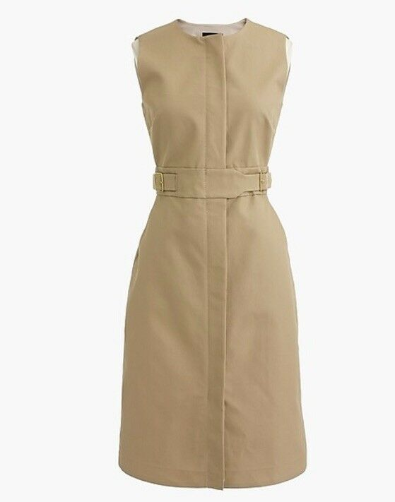 Brand New J Crew Zip Front Sleeveless Dress Khaki Größe 4 G2717