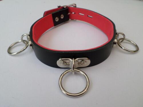 bdsm lockable 3 ring leather fetish bondage collar 24mm wide 25mm black /& red