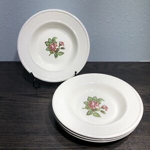 Vintage-Wedgwood-EDME-MOSS-ROSE-T432-8-1-4-034-2-Edged-Soup-Bowls-2-With-Chip