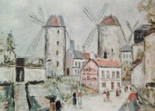 Windmills of Montmartre(MINI PRINT) By Maurice Utrillo
